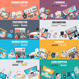 Set of flat design concept for business marketing. Set of flat design concept for business strategy, video and web marketing, e-commerce, business processes Stock Image