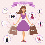 Set of flat design concept icons. For beauty and shopping. Icons for beauty, shopping, fashion concept Stock Photos