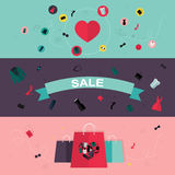 Set of flat design concept icons for beauty and shopping. Royalty Free Stock Photography