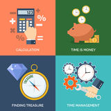 Set of flat design concept icons for business.. Calculation, Time is money, Finding treasure and Time management. Vector Illustration Stock Image