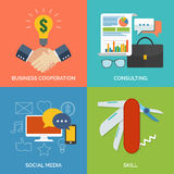 Set of flat design concept icons for business. Stock Image
