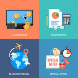 Set of flat design concept icons for business. Royalty Free Stock Photos