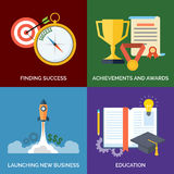Set of flat design concept icons for business. Finding Success, Achievements and awards, Launching new business and Education. Vector Illustration Stock Photo