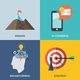 Set of flat design concept icons for business. Stock Photo