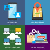 Set of flat design concept icons for business. Stock Images