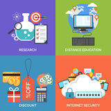 Set of flat design concept icons for business. Research, Distance education, Discount and Internet security. Vector Illustration Royalty Free Stock Photo
