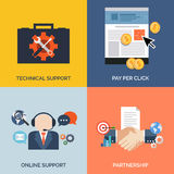 Set of flat design concept icons for business. stock illustration