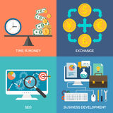 Set of flat design concept icons for business. Time is money, Exchange, SEO and Business development. Vector Illustration Stock Photography