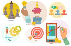 Set of flat design concept icons of creation process Stock Photo