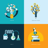 Set of flat design concept icons for education Royalty Free Stock Images