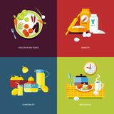 Set of flat design concept icons for food and drinks. Stock Images