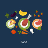 Set of flat design concept icons for food and Stock Photo