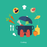Set of flat design concept icons for food and Royalty Free Stock Photo