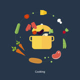 Set of flat design concept icons for food and Royalty Free Stock Image