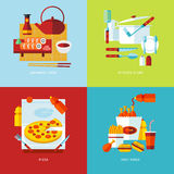 Set of flat design concept icons for food and tableware. Royalty Free Stock Image