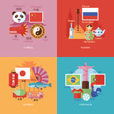 Set of flat design concept icons for foreign languages. Icons for Chinese, Russian, Japanese and Portugese. Stock Photos