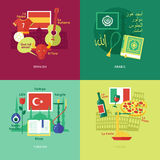 Set of flat design concept icons for foreign languages. Royalty Free Stock Photos