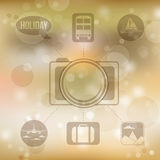 Set of flat design concept icons for holiday and travel on blurr Stock Image