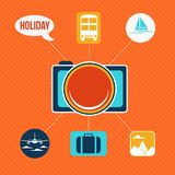 Set of flat design concept icons for holiday and travel Stock Photos