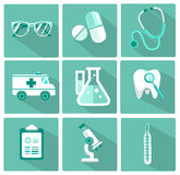 Set of flat design concept icons for medicine Stock Image