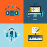 Set of flat design concept icons for music industry. Icons for dj music, playing, music recording, piano composing Stock Image