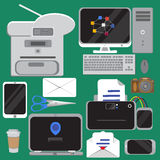 Set of  flat design concept icons of office equipment Royalty Free Stock Images