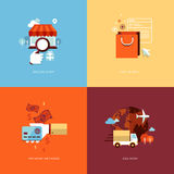 Set of flat design concept icons for online shoppi Stock Photos
