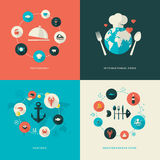 Set of flat design concept icons for restaurant Stock Photos