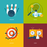 Set of flat design concept icons for sports kinds. Stock Image
