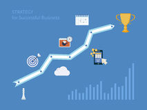 Set of flat design concept icons for strategic. Planning and strategy for successful business. Illustration includes icons for goal marketing, emerging market Royalty Free Stock Image