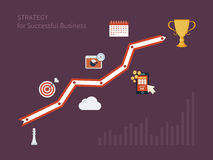 Set of flat design concept icons for strategic. Planning and strategy for successful business. Illustration includes icons for goal marketing, emerging market Stock Photography