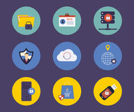 Set of flat design concept icons for technology Royalty Free Stock Photos