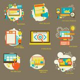 Set of flat design concept icons for web Stock Image