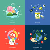 Set of flat design concept icons. For web and mobile phone services and apps. icons for ecology, think green, recycle and save the planet Stock Image