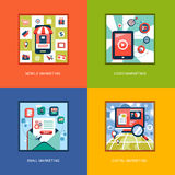 Set of flat design concept icons Royalty Free Stock Photography