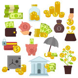 Set of flat design concept money icons for finance banking online payment dollar buck cash note commerce vector. Set of flat design concept money icons for vector illustration