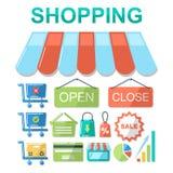 Set of flat design concept shopping icons. Stock Photos