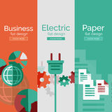 Set of flat design concepts - business, electric Stock Photo