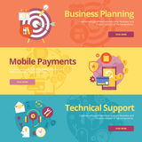 Set of flat design concepts for business planning, mobile payments, technical support. Stock Image