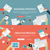 Set of flat design concepts for business strategy