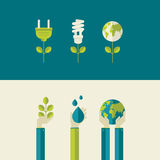 Set of flat design concepts for ecology Stock Photos