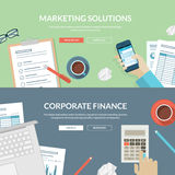 Set of flat design concepts for marketing solution. Concepts for marketing strategy, research and planning, corporate consulting, business management, financial Stock Image