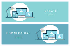 Set of flat design concepts Update and Downloading technology. Install new software, operating system. Stock Photography
