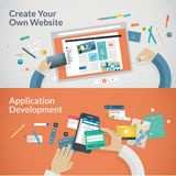 Set of flat design concepts for websites and appli