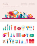 Set of flat design cosmetics, make up icons and Royalty Free Stock Photos