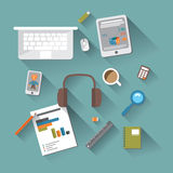 Set the flat design of devices and items for business.  Royalty Free Stock Photography