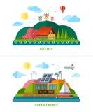 Set of flat design ecology background illustrations Stock Photo