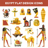 Set of flat design Egypt travel icons Royalty Free Stock Images