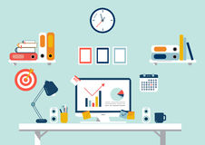 Set of flat design elements, illustration of workspace. Vector Royalty Free Stock Photography
