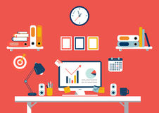 Set of flat design elements, illustration of workspace. Vector Royalty Free Stock Photo